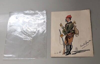 Signed Pencil Watercolour Drawing Sketch Anatole Goujon French Soldier Costume?