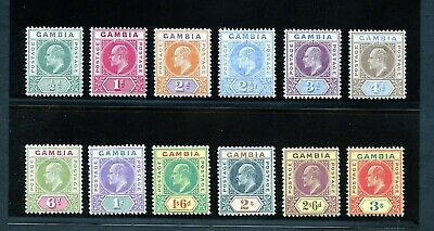 Gambia  Scott#28/39, Sg#46/56 Edward Vii  Complete  Mint Light  Hinged