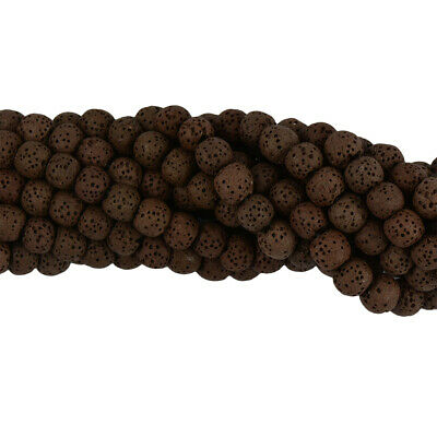 8mm Brown Lava Volcanic Rock Gemstone Loose Beads 15'' Spacer Charm Findings