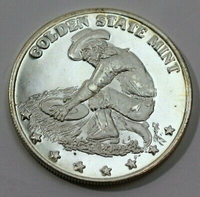 GOLDEN STATE MINT Miner, Covered Wagon 1 Troy Oz .999 Fine SILVER COIN - Bullion