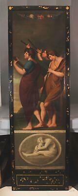 Lrg Antique 19thC Neoclassical Men Musicians Oil Painting Painted Lacquer Frame
