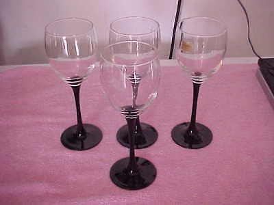 """Cristal D'arques Luminarc Crystal With Black Stems 7 3/4"""" Goblets Set Of 4"""