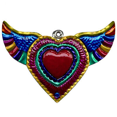Hand-Punched Tin Ornament Heart Milagro w Wings Colorful Mexican Folk Art Mexico