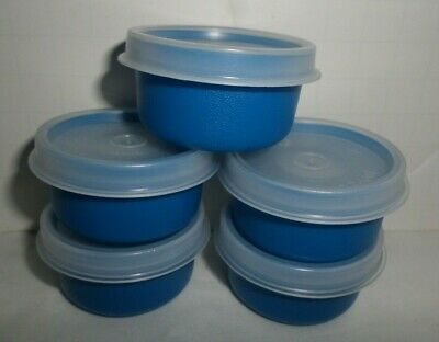 New Tupperware Blue Smidgets With Clear Lids Set of 5