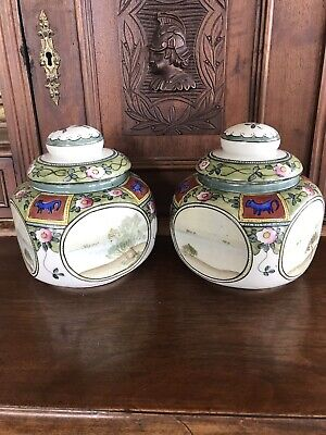 Two Antique Hand Painted Nippon Ginger Jars