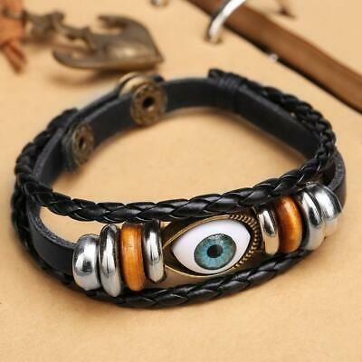 New Fashion Women Men Unisex Turkey Blue Eyes Braided Cowhide Bracelet C1MY 02