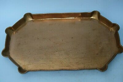 Large Copper Arts & Crafts Copper Tray Fish Design - Newlyn Interest - Very Rare