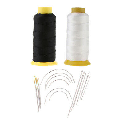 White Bonded Nylon Thread and Hand Sewing Curved Needles Home Repair Kit