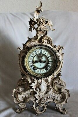 Ansonia Clock Co NY Gilt Metal Mantle Clock French Style Windup Antique 1900