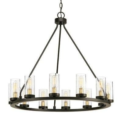 Progress Lighting 12-Light Chandelier Light with Clear Glass -Antique Bronze