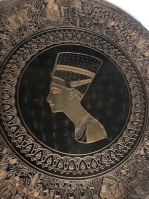Etched Black Copper Metal Egypt God Goddess Osiris Isis Disk Plate Wall Art
