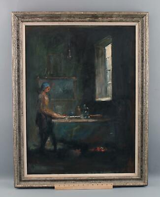 Large Antique 1941 French Impressionist Interior Oil Painting Woman Cat & Window