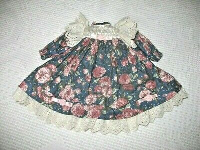 """VICTORIAN STYLE Doll Dress 15"""" - 16"""" FANCY  DOLL DRESS PINK ROSES EYELET LACE"""
