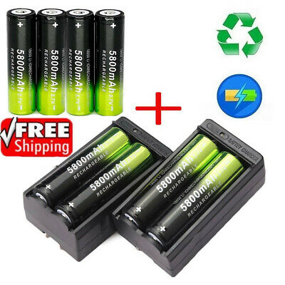 18650 Li-ion lithium 3.7V 5800mAh Rechargeable Battery Charger Flashlight Torch
