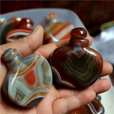 Wholesale!1 Pcs Unusual Natural Banded Agate Crystal Stone Snuff Bottle