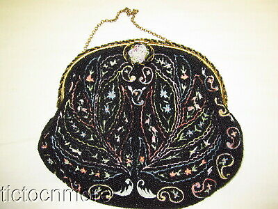 Vintage Hand Made In France Glass Beaded Beaded Frame Clutch Purse Bag