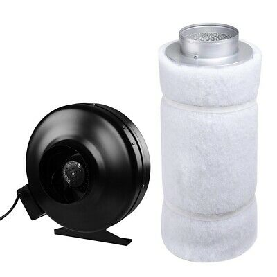 """6"""" Inline Fan Blower 6""""x22"""" Carbon Filter Combo Hydroponic Odor Control Scrubber"""