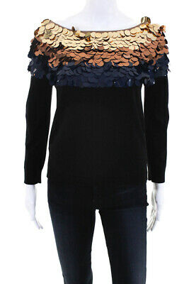 44bada0c10a Sonia Rykiel Womens Sequined Long Sleeve Sweater Black Wool Size Medium