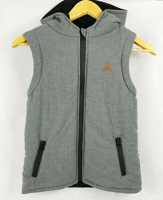 BAUHAUS Boys Casual Black / Grey Hooded Vest Warm for Winter Size 10 - Ex Cond