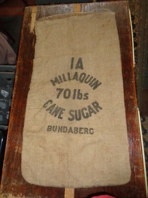 Collectable/vintage/old Millaquin Bundaberg Hessian Sugar Bag 7O Pound Weight
