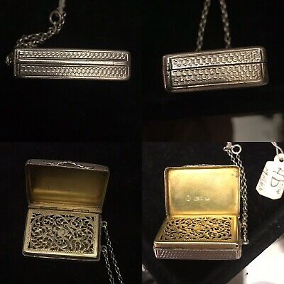 Antique 19th C Georgian Solid Silver vinaigrette Box Birm 1837 By Nathanel Mills