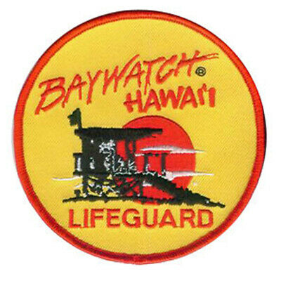 Baywatch Hawaii Yellow Lifeguard 10cm patch Embroidered Sew or Iron on Badge