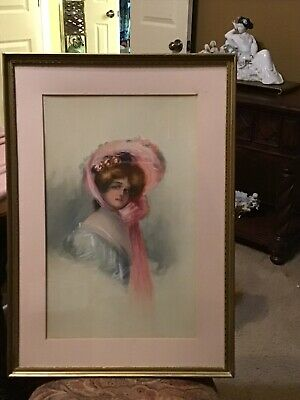 Antique PAINTING Nouveau Deco Woman Gibson Girl Gilt Plaster Frame Early 20c