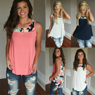 Womens Summer Back Floral Sleeveless T Shirt Vest Casual Holiday Size 6-18 Tops