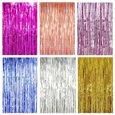 1X2M/3M Long Metallic Foil Fringe Tinsel Curtain Wedding Backdrop Birthday party