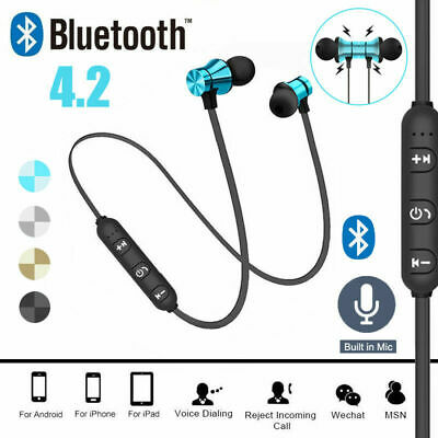 Wireless Bluetooth 4.2 Magnetic Sport Earbuds Earphone Headset Stereo Headphones