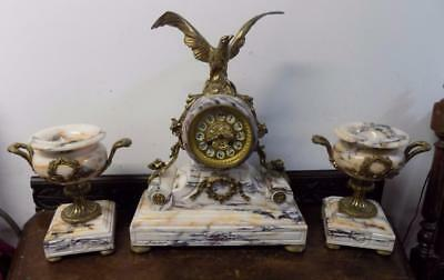 good quality french drumhead marble and brass  clock garniture- eagle surmount