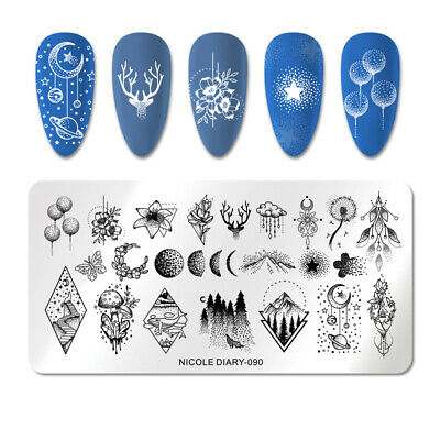 NICOLE DIARY Stamping Plates Rectangle Stainless Steel Star Moon Nail Stamp 090