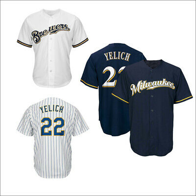 ceb5f6be4 New Men's Milwaukee Brewers NO.22 Christian Yelich Jersey White/Navy/Royal M