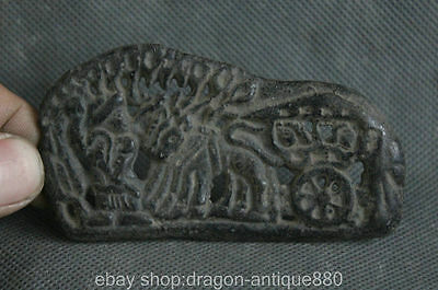 90MM China Antique Bronze Dynasty Man horse drawn carriage Statue Plate Pendant