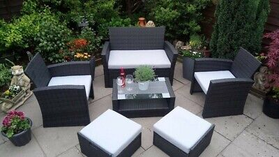 Black Rattan Garden Furniture Set 6 Piece With Storage Inc Cushions Flat Packed3