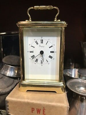 Antique Style Asprey London Gilt Bronze Carriage Mantal Clock With Key Working