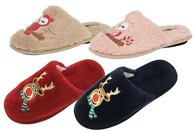 Womens Novelty Xmas Slippers Reindeer Owl Animal Character Mules Shoes Ladies