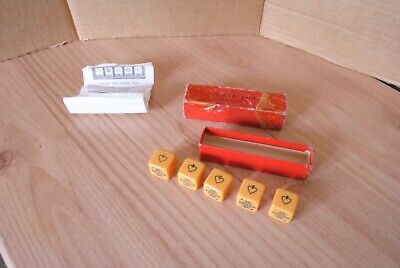 K & C London Vintage Poker Dice with Instructions.