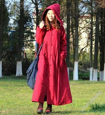 New Retro Manual Button Hooded Cotton Linen Womens Dress Gown Caftan Coats Maxi