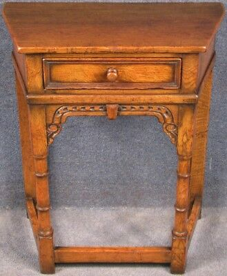 Titchmarsh And Goodwin Carved Solid Oak Canted Side Table