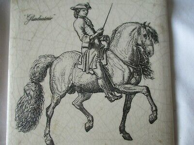 "Antique Vintage Porcelain Tile French? Cavalry Man On Horse ""gladiateur"""