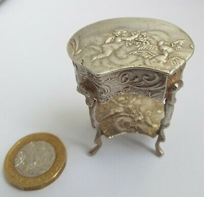 Beautiful English Antique Victorian 1901 Miniature Sterling Silver Parlour Table