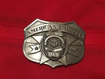 1986 Siskiyou American Lawman Enamel Pewter Belt Buckle #W-30 Made in USA