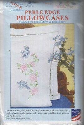 1 pair Jack Dempsey Birds Perle Edge Stamped Embroidery Pillowcases