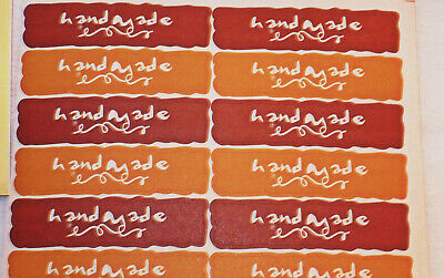480  Rectangle Brown  'handmade ' Labels/stickers #craft/card Making/ Gift