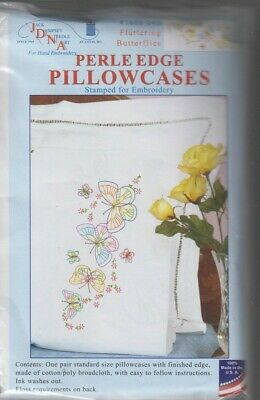 1 pr Jack Dempsey Butterflies  Perle Edge Stamped Embroidery Pillowcases
