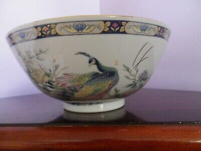 Fabulous Large Vintage Blue Japanese Porcelain Peacocks Design Bowl 20.5 Cms Dia