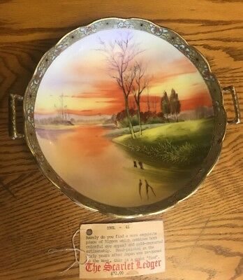 "Vintage T""T"" NIPPON Hand Painted Scenery + Gold Moriage Handled Centerpiece BOWL"