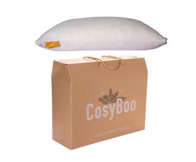 1 Pack | CosyBoo Luxury Bamboo Memory Foam Pillow | Queen Size (Large) 77 x 53cm