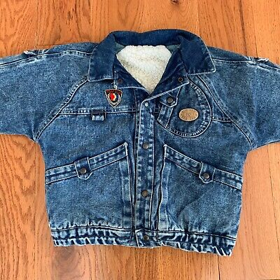 Vintage Sherpa  Acid Wash Blue Denim Jacket Youth Boys Size 10 Trucker Kids